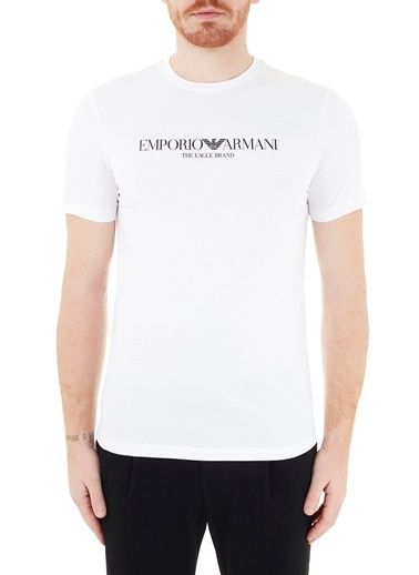 Emporio Armani  Baskılı Bisiklet Yaka % 100 Pamuk T Shirt Erkek T Shırt 8N1T61 1J00Z 0100 Beyaz
